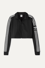 Cropped striped tech-jersey track jacket