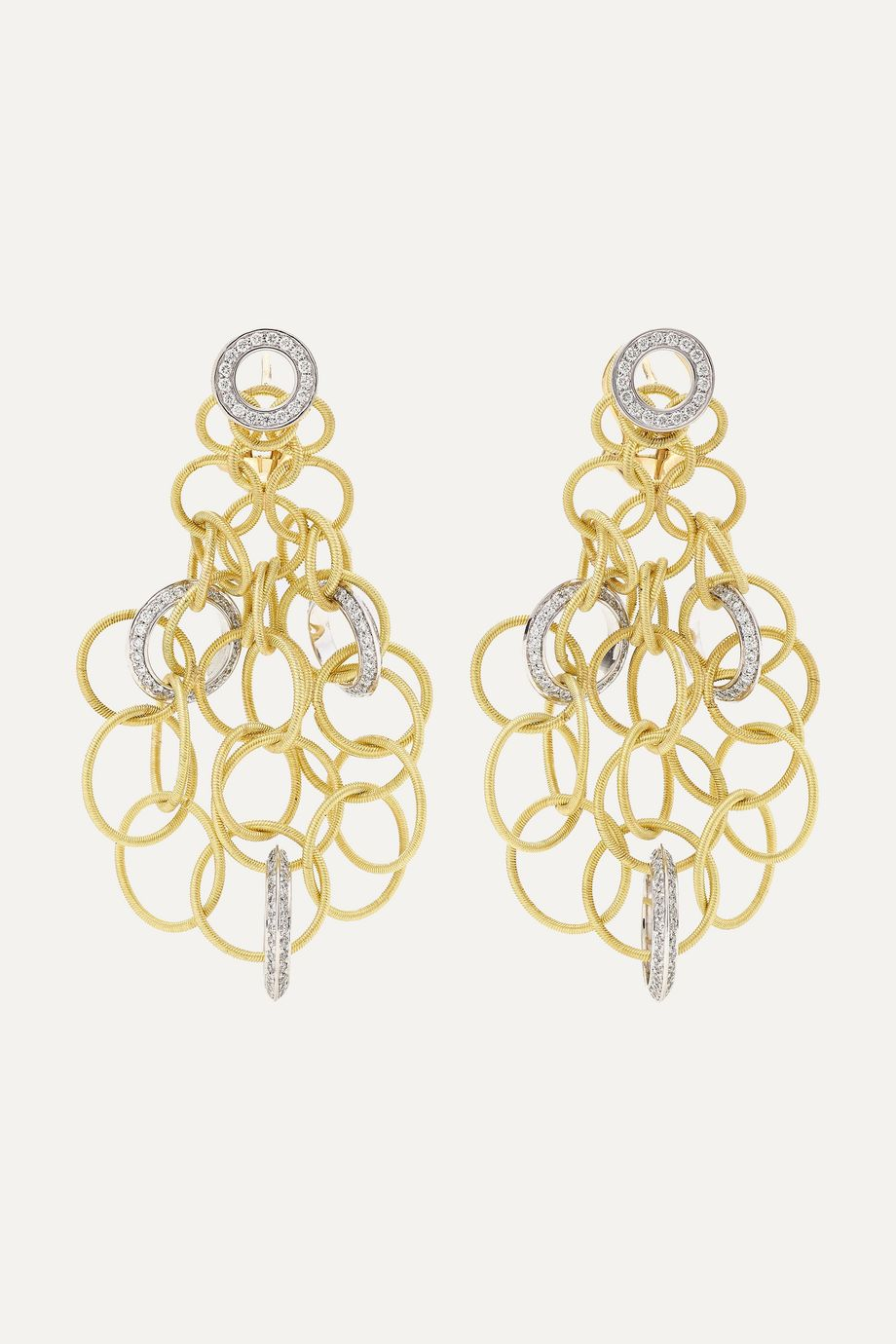 Buccellati Hawaii 18-karat yellow and white gold diamond earrings