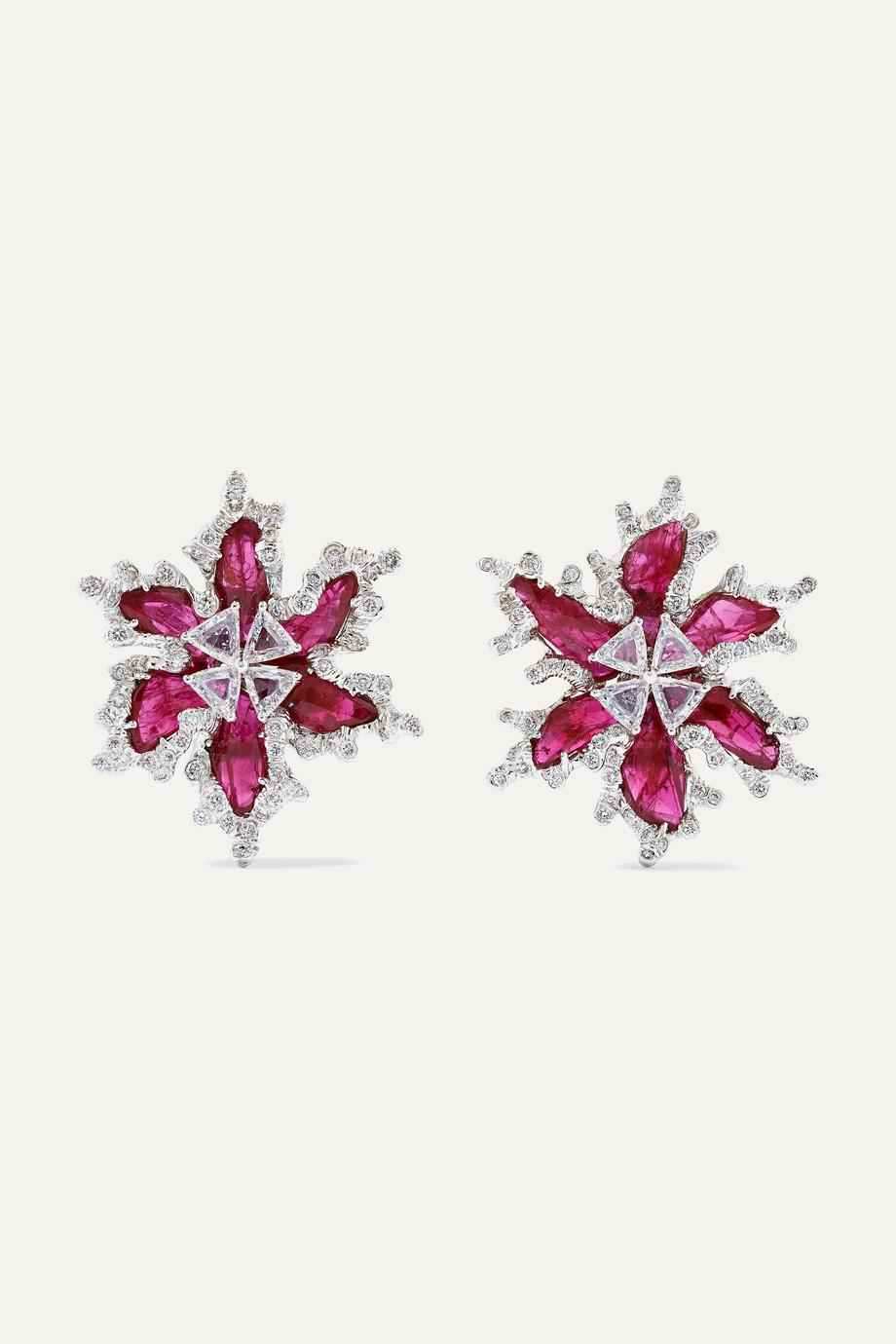 Bina Goenka 18-karat gold, diamond and ruby earrings