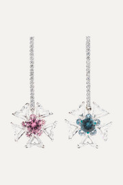 18-karat white gold multi-stone earrings
