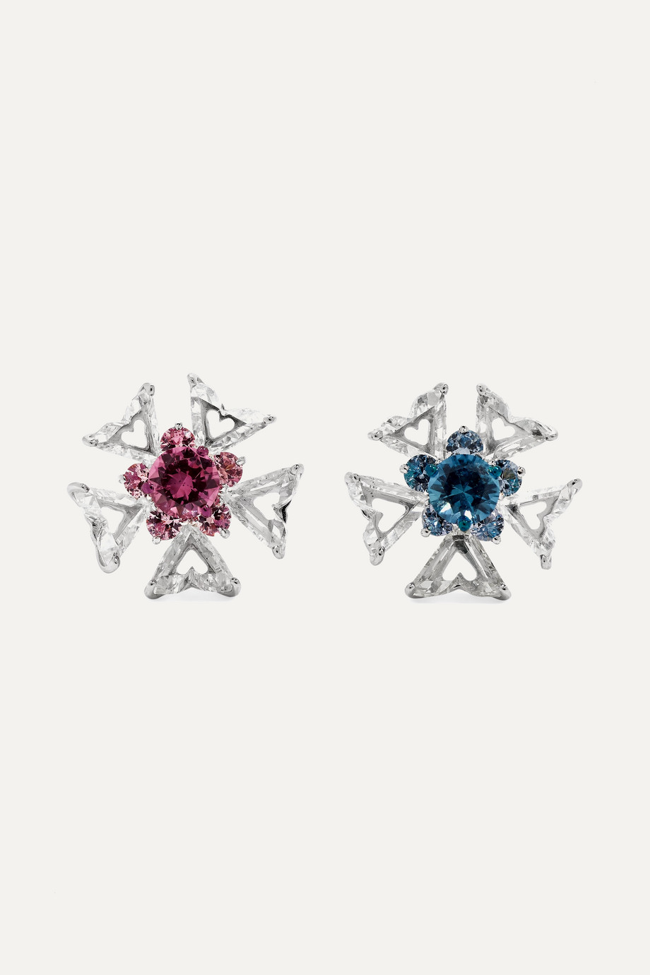 Bina Goenka 18-karat white gold multi-stone earrings