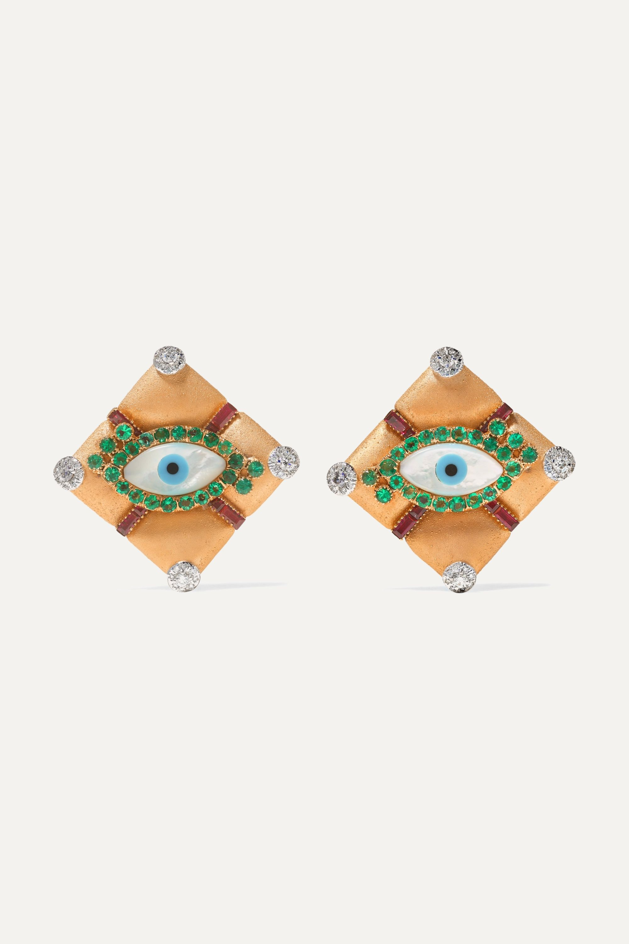Bina Goenka 18-karat gold multi-stone earrings