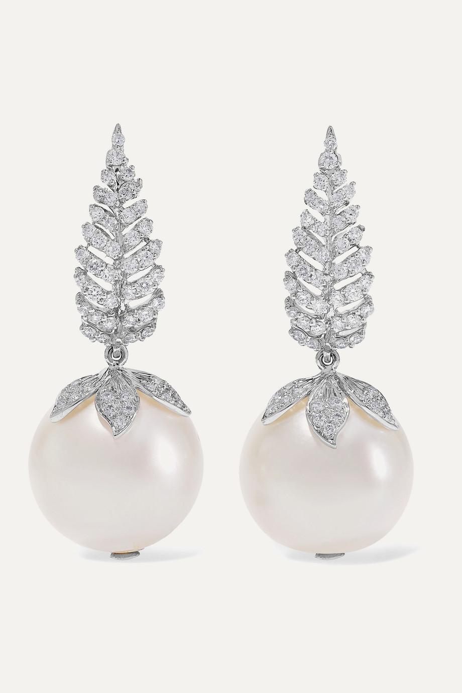 Bina Goenka 18-karat white gold, pearl and diamond earrings