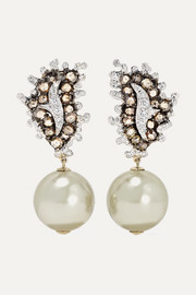 18-karat white and yellow gold, pearl and diamond earrings