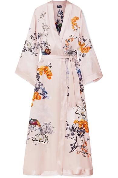 MENG Printed Silk-Satin Robe in Pastel Pink