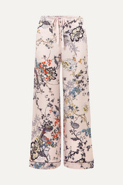 Printed silk-satin pajama pants