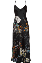 Floral-print silk-satin nightdress