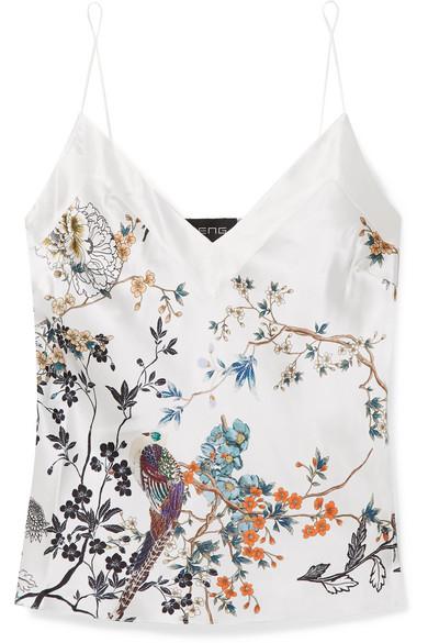 MENG | MENG - Printed Silk-satin Camisole - White | Goxip