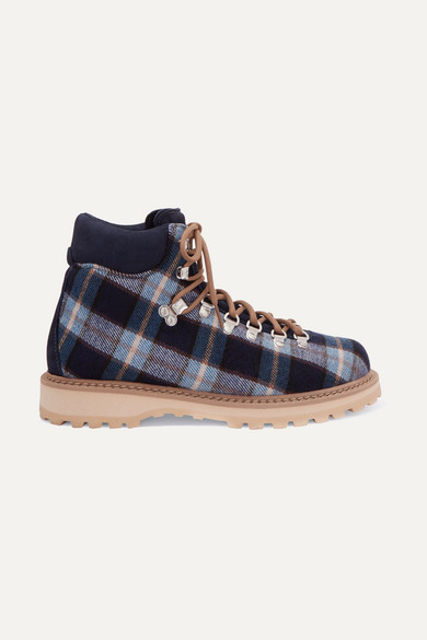 Roccia Vet Checked Canvas Ankle Boots in Blue