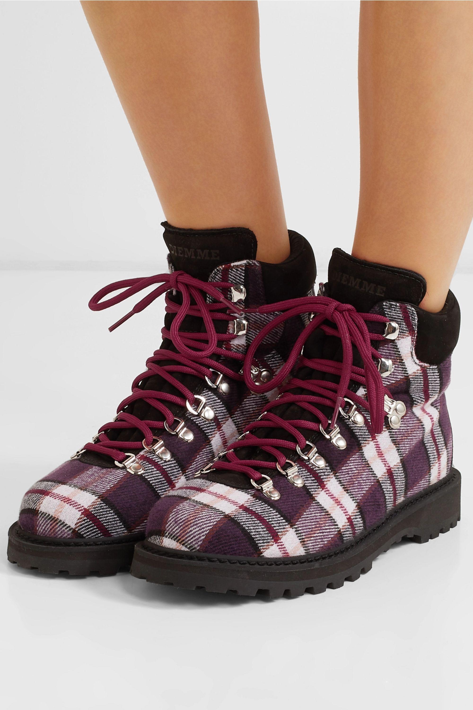Diemme Roccia Vet suede-trimmed plaid felt ankle boots