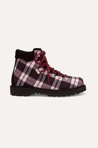 Roccia Vet Suede-Trimmed Plaid Felt Ankle Boots in Brown