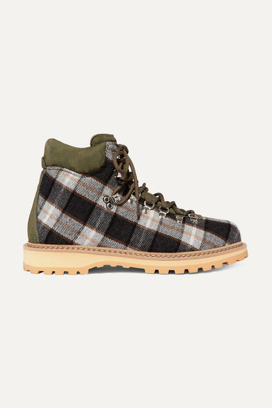 Roccia Suede-Trimmed Checked Wool Ankle Boots in Green