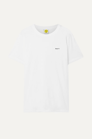 YEAH RIGHT NYC Frosty Embroidered Organic Cotton-Jersey T-Shirt in White