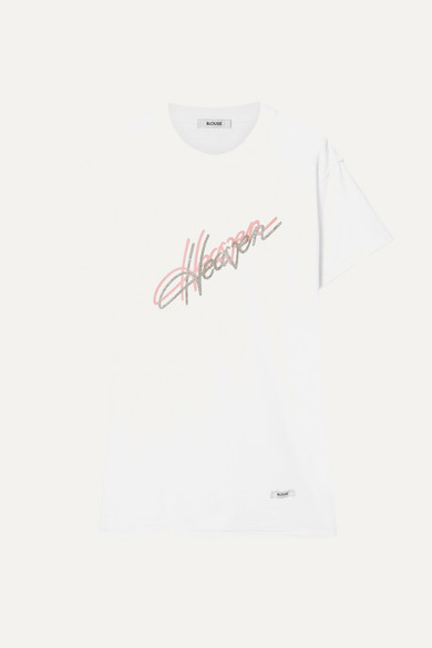 BLOUSE Printed Glittered Cotton-Jersey T-Shirt in White