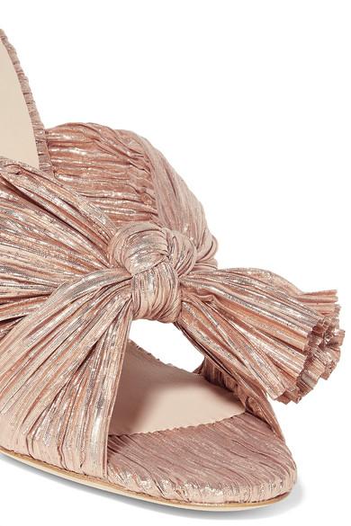Loeffler Randall Mules Penny bow-detailed plissé-lamé mules