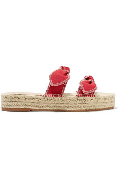 0ca143eaab LOEFFLER RANDALL | Loeffler Randall - Daisy Bow-embellished Canvas  Espadrille Slides - Red