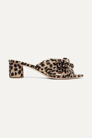 Loeffler Randall Mules Emilia bow-detailed leopard-print plissé-lamé mules