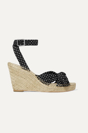 Tessa knotted polka-dot cotton espadrille wedge sandals