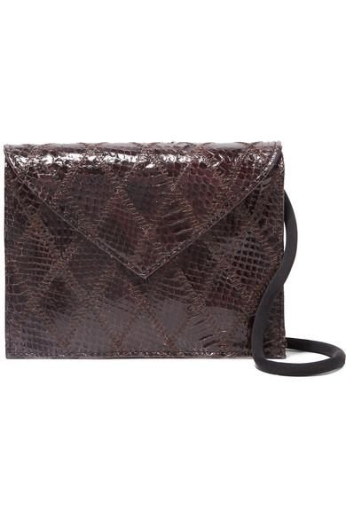 Pen Pal Watersnake Shoulder Bag in Chocolate