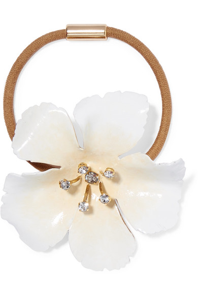 Malia Enamel, Gold-Tone And Crystal Hair Tie in White
