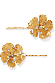 Haille set of two gold-tone crystal hair slides