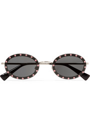 Oval-frame crystal-embellished acetate and gold-tone sunglasses