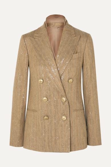 BRUNELLO CUCINELLI | Brunello Cucinelli - Double-breasted Sequined Herringbone Cotton-blend Blazer - Beige | Goxip