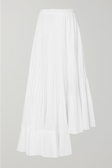 6a6772d9a4 Brunello Cucinelli | Asymmetric pleated crepe de chine maxi skirt |  NET-A-PORTER.COM