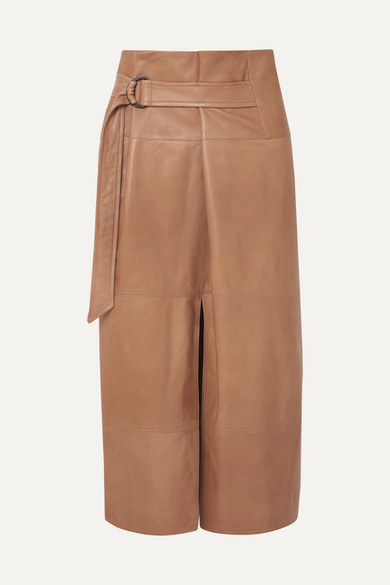 410d0f7b5c Brunello Cucinelli | Belted leather midi skirt | NET-A-PORTER.COM