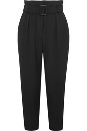 Cropped belted crepe pants