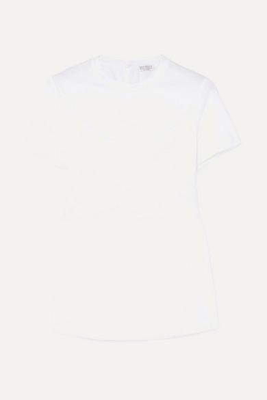 BRUNELLO CUCINELLI | Brunello Cucinelli - Belted Draped Silk-satin And Cotton-jersey T-shirt - White | Goxip