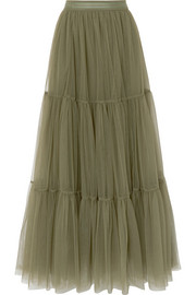 Tiered bead-embellished tulle skirt