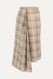 Belted checked cotton and silk-blend voile wrap skirt