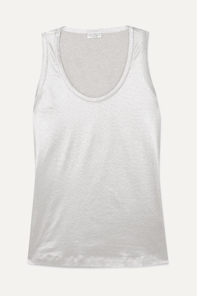 BRUNELLO CUCINELLI | Brunello Cucinelli - Metallic Cotton-jersey Tank - Cream | Goxip