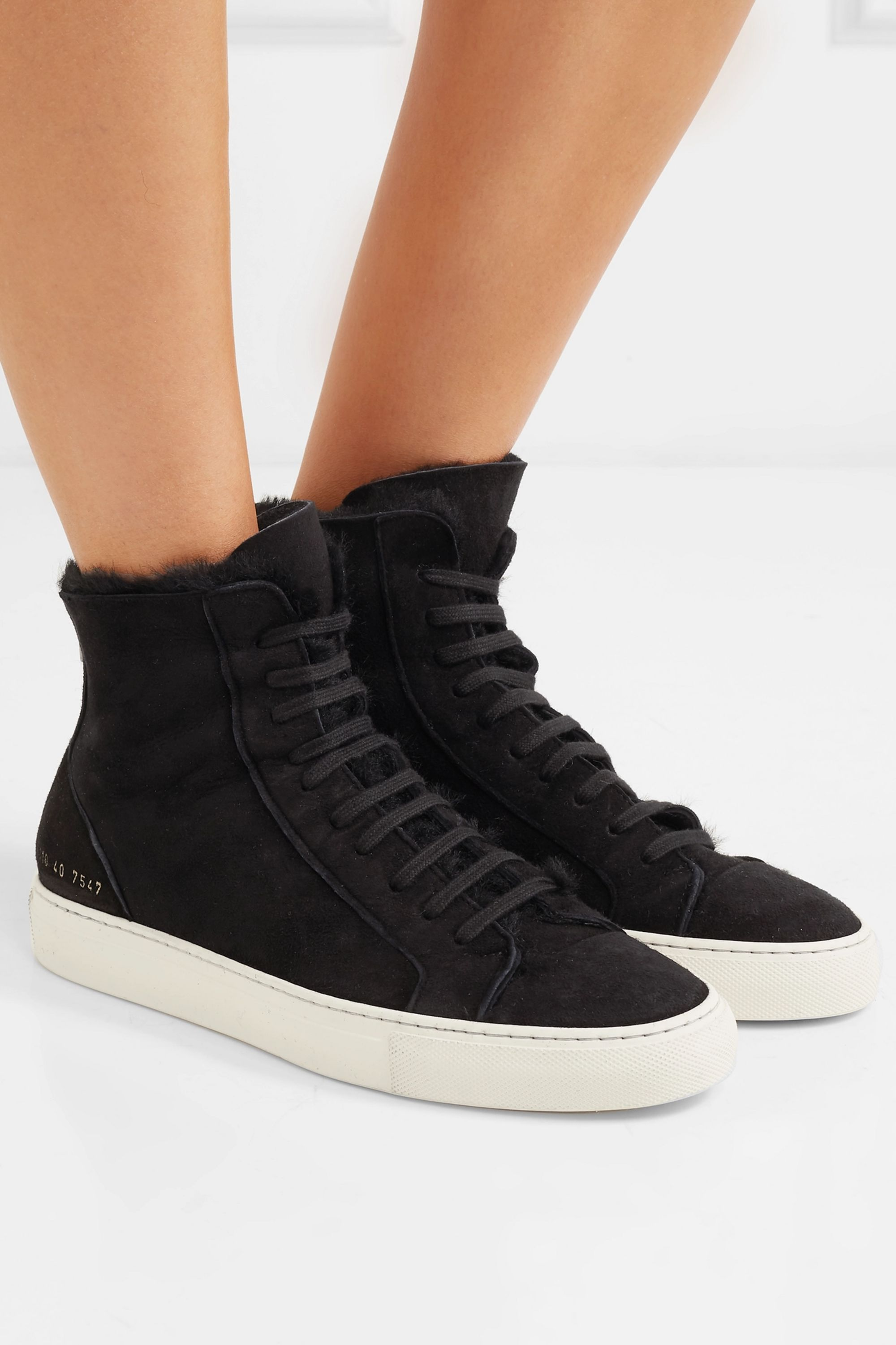 Black Tournament shearling-lined suede
