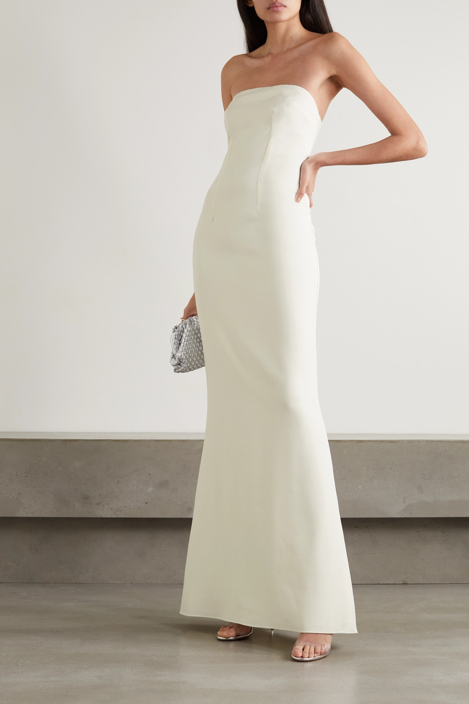 Safiyaa Strapless crepe gown