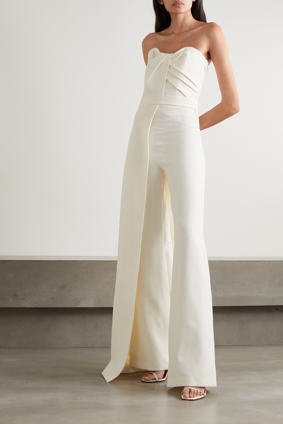 Safiyaa Layered strapless crepe jumpsuit