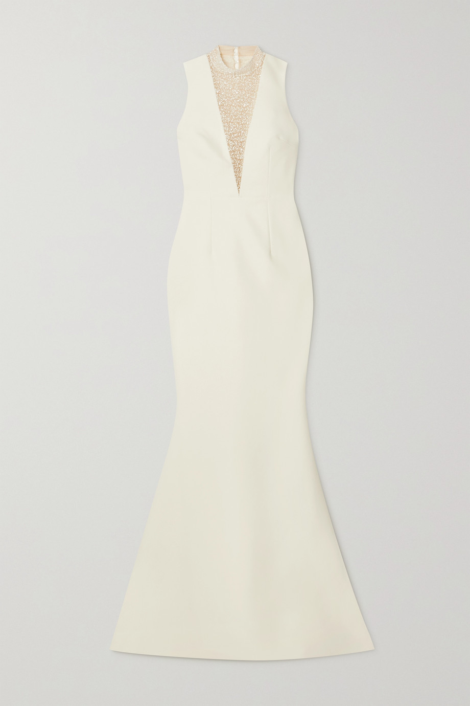Safiyaa Embellished tulle-paneled crepe gown
