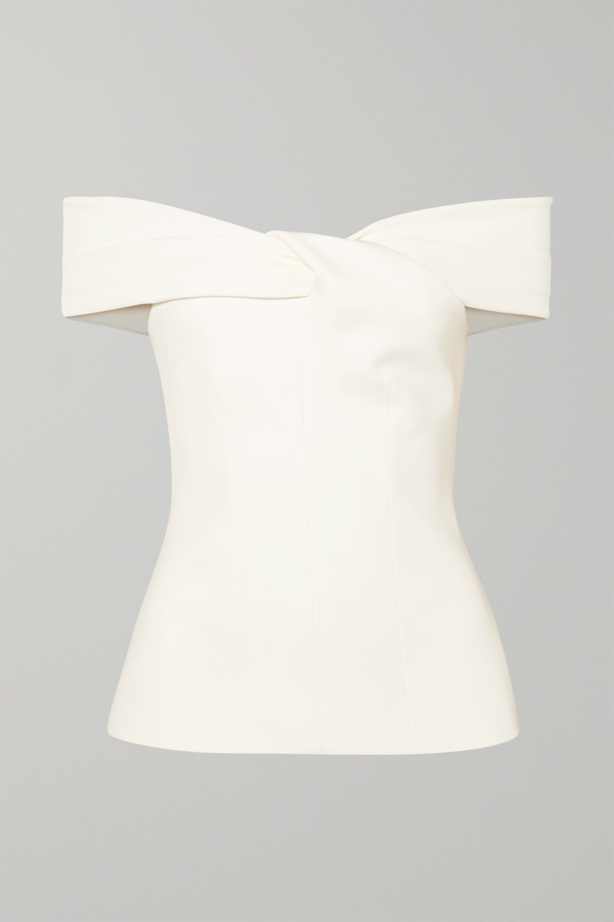 Safiyaa Off-the-shoulder twist-front crepe top