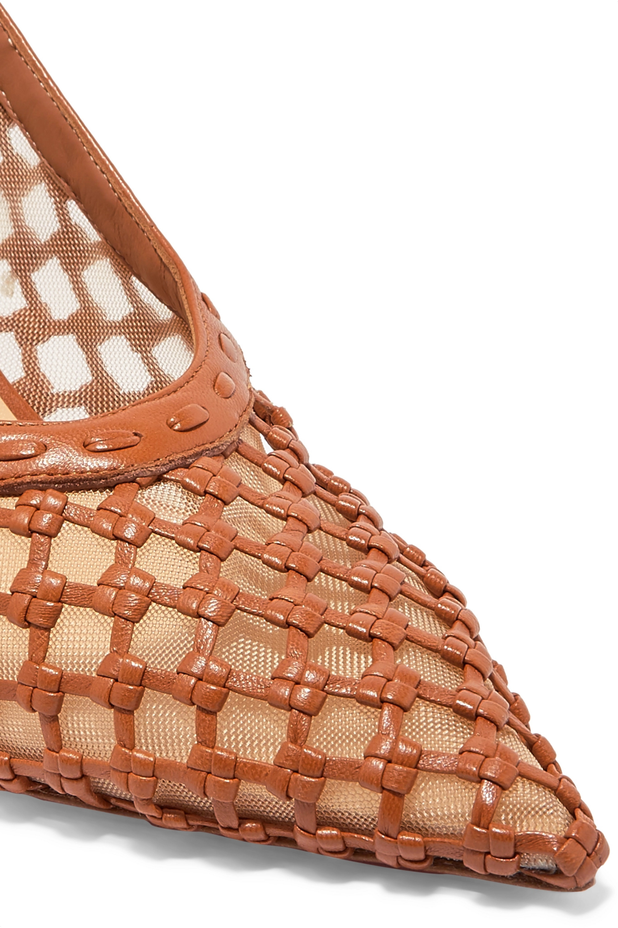 Christian Louboutin + Roland Mouret Cage and Curry mesh and woven leather pumps