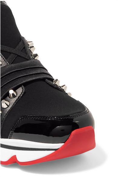 a2c7f08635e Christian Louboutin   123 Run paneled embellished neoprene sneakers ...