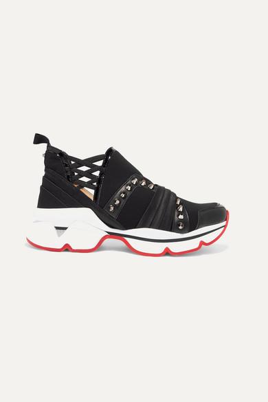 402b32165b4 123 Run paneled embellished neoprene sneakers