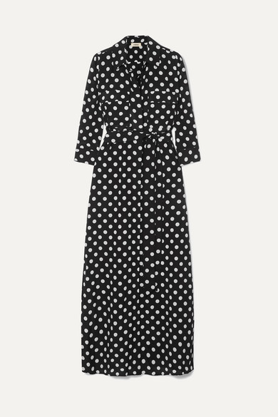 Cameron Polka-Dot Silk Maxi Dress in Black from L'AGENCE