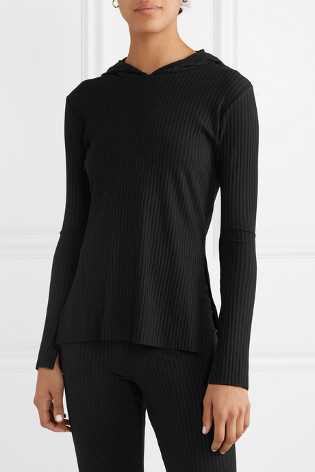 Angelique ribbed stretch-jersey hoodie