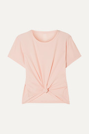 The Foundation cropped knotted stretch-jersey T-shirt