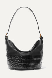 Jamie duchesse-satin and croc-effect leather shoulder bag