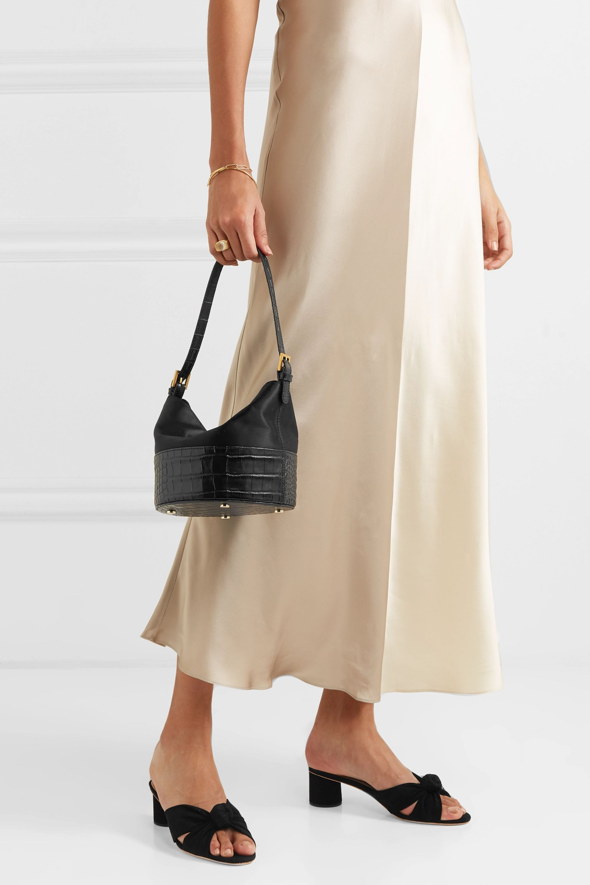 BY FAR Jamie duchesse-satin and croc-effect leather shoulder bag