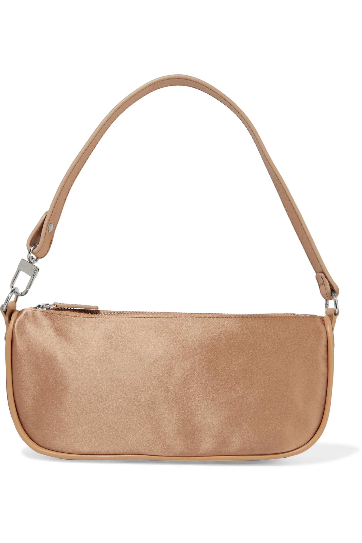 BY FAR Rachel leather-trimmed silk-satin shoulder bag