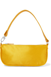 BY FAR Rachel leather-trimmed silk shoulder bag