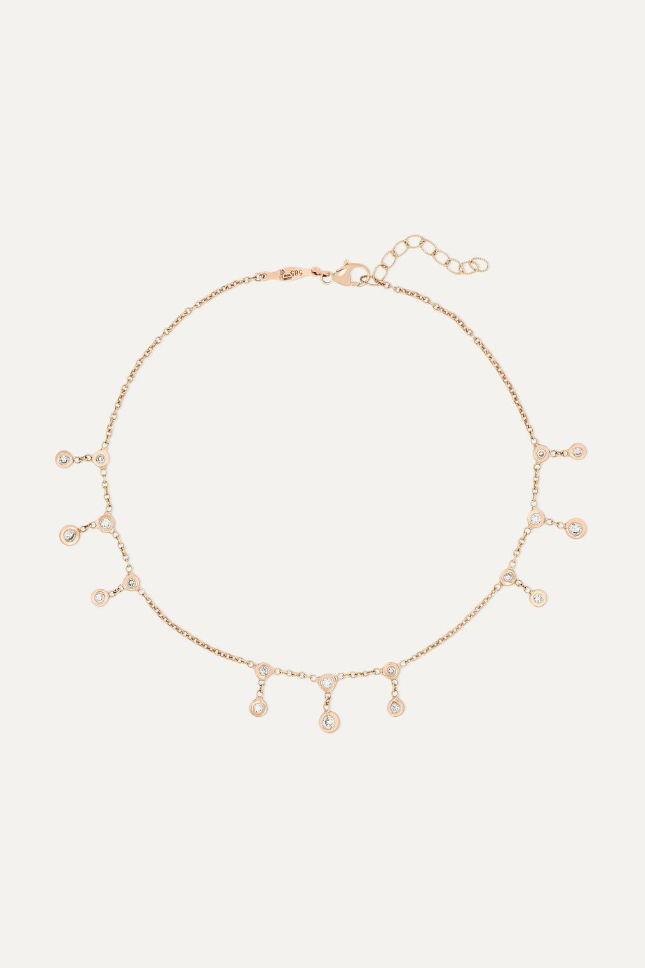 Jacquie Aiche Shaker 14-karat rose gold diamond anklet